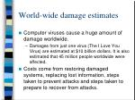 world wide damage estimates