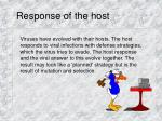 response of the host