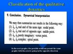 classification of the qualitative dynamics