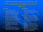 the remarkable difference of europe and usa in supporting unemployment and self employed