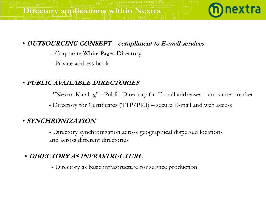 Directory applications within Nextra