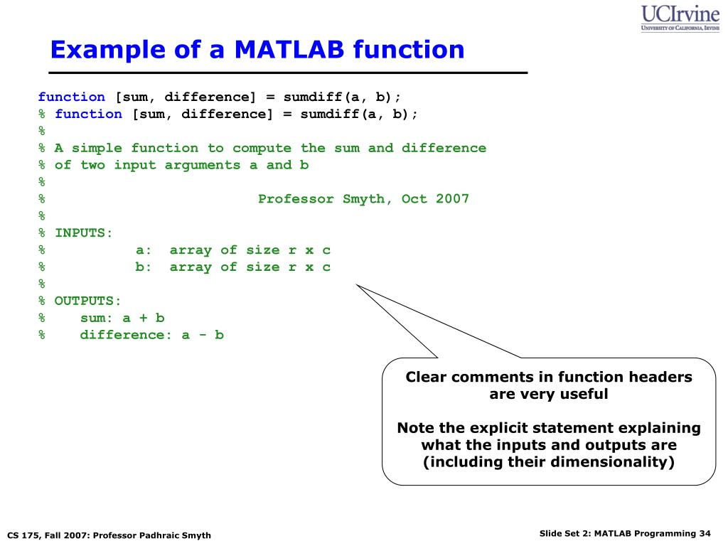 PPT - Lecture 2: Programming in MATLAB CS 175: Project in AI