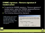 s mime signature remove signature if needed action