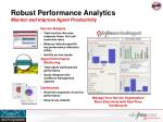 robust performance analytics monitor and improve agent productivity