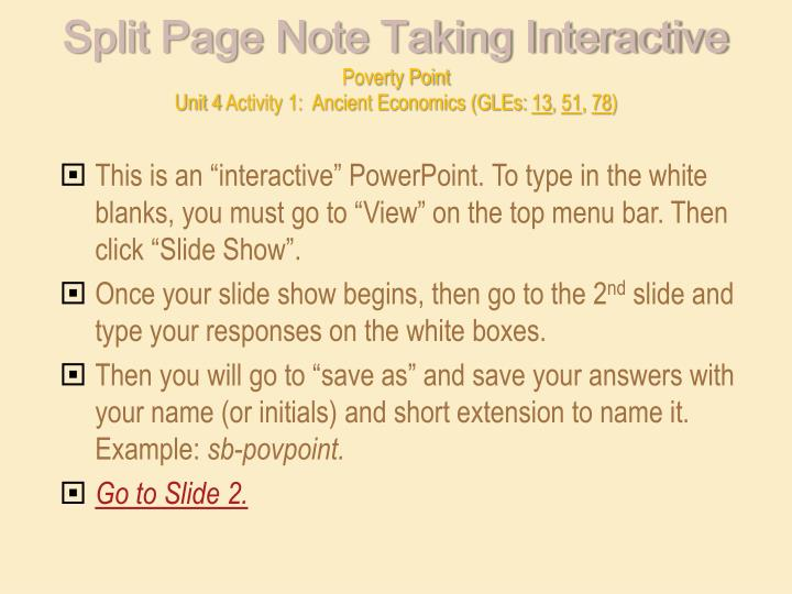 Split Page Note Taking Interactivepoverty Pointunit 4 Activity