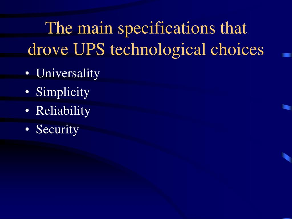 The main specifications that