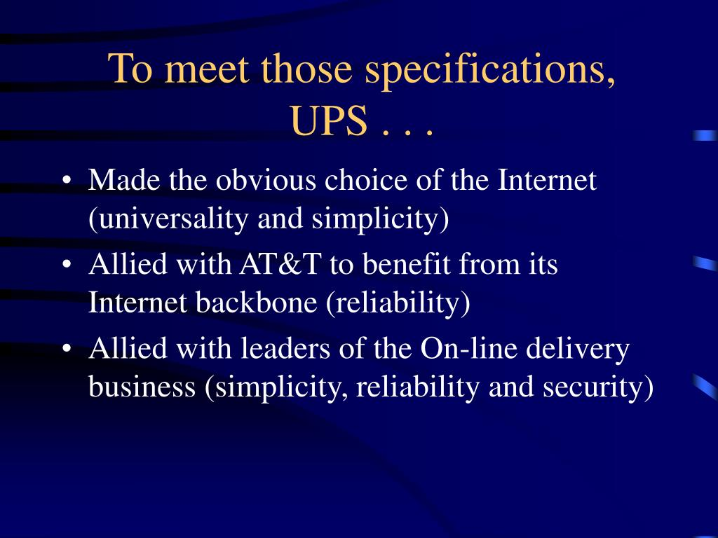 To meet those specifications,