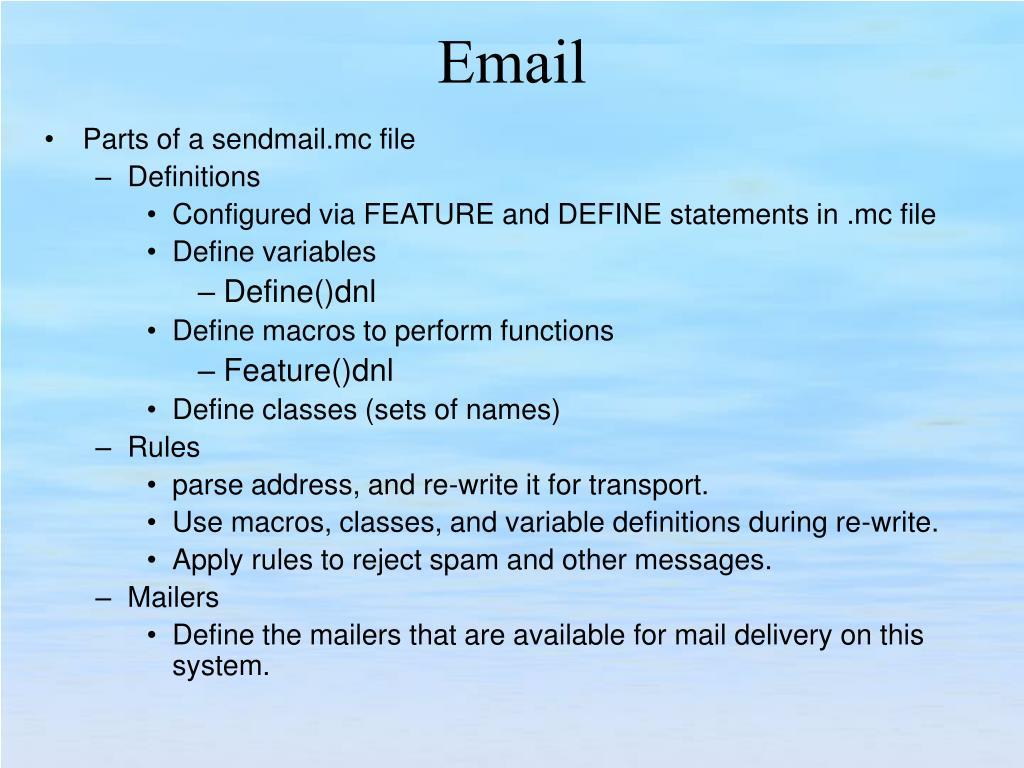 Parts of a sendmail.mc file