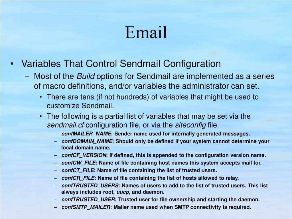 Variables That Control Sendmail Configuration