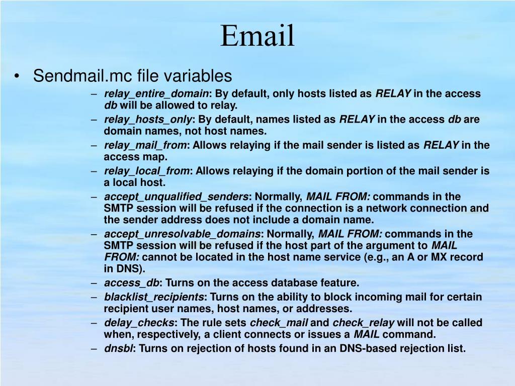 Sendmail.mc file variables