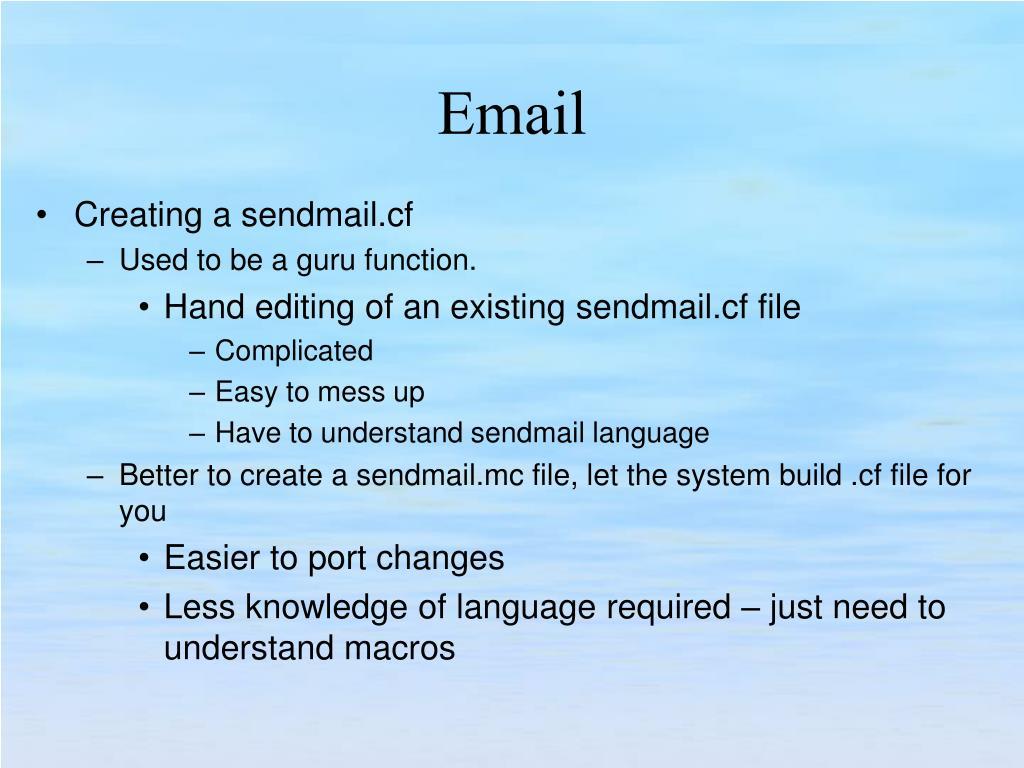 Creating a sendmail.cf