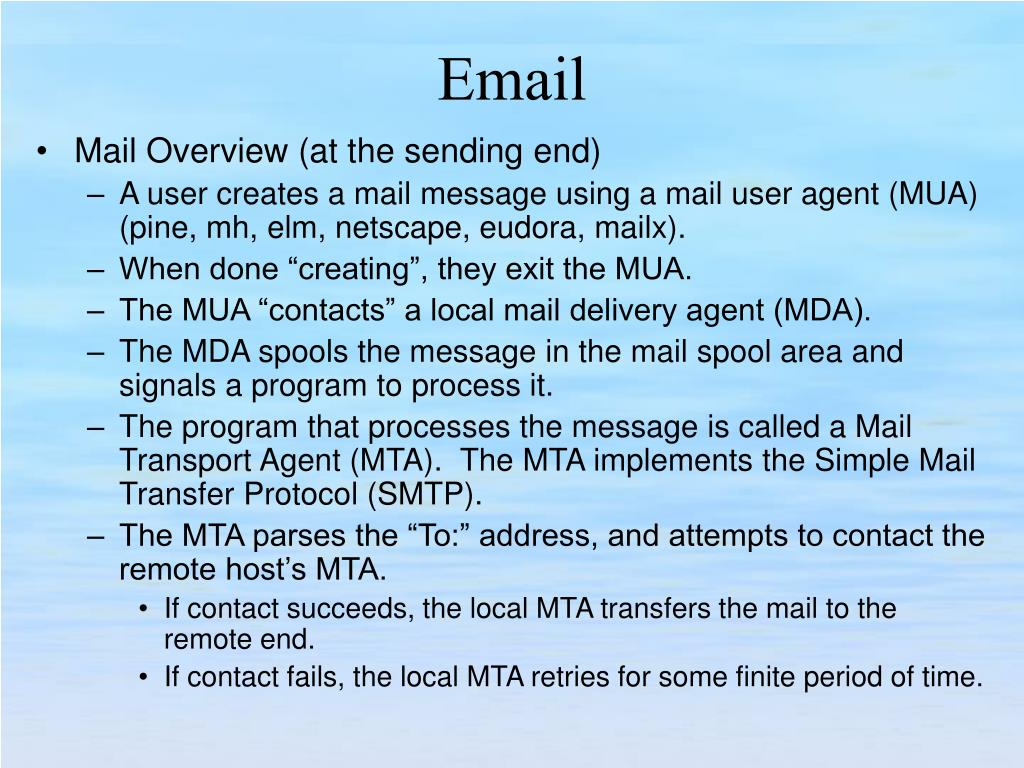 Mail Overview (at the sending end)