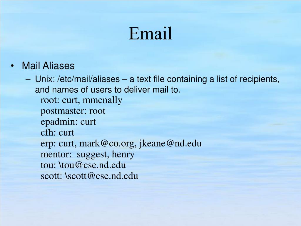 Mail Aliases