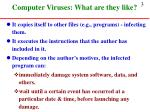 computer viruses what are they like