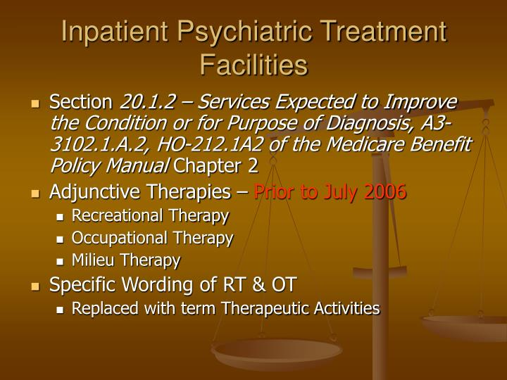 Inpatient Psychiatric Treatment Facilities