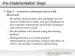 pre implementation steps