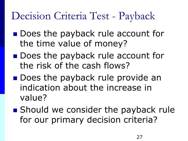 Decision Criteria Test - Payback