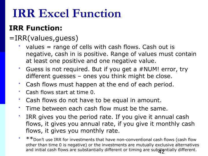 IRR Excel Function