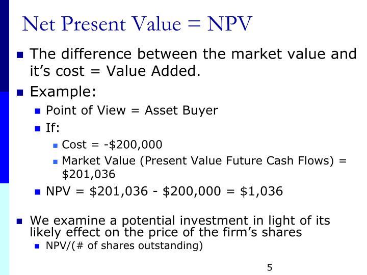 Net Present Value = NPV
