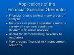 applications of the financial scenario generator