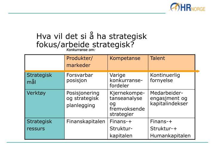 Hva vil det si å ha strategisk fokus/arbeide strategisk?