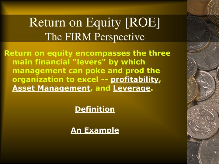 Return on equity roe the firm perspective