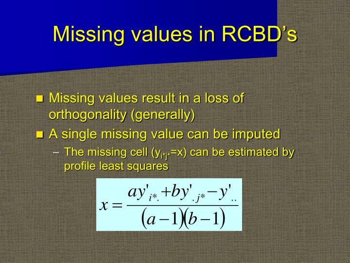 Missing values in RCBD's