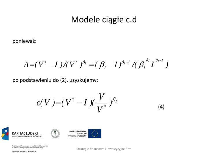 Modele ciągłe c.d