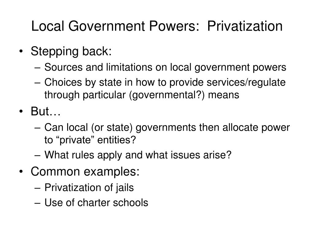 local government powers privatization