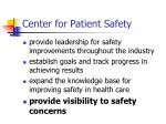 center for patient safety