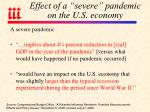 effect of a severe pandemic on the u s economy