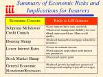 summary of economic risks and implications for insurers