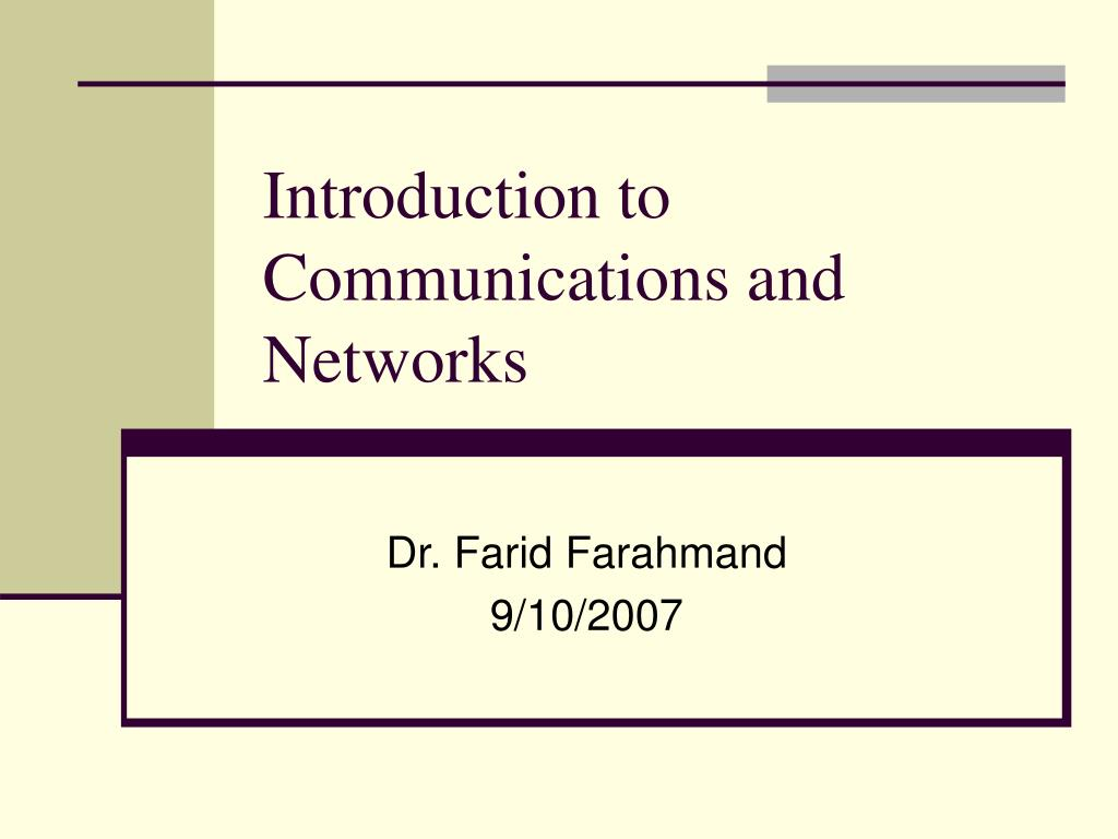 introduction to communications and networks l.
