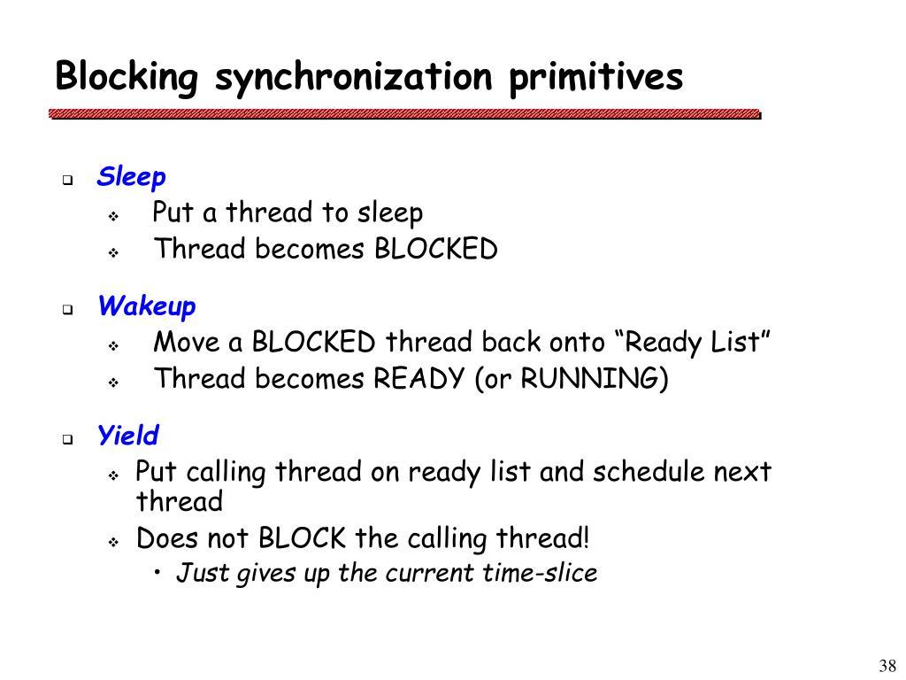 Blocking synchronization primitives