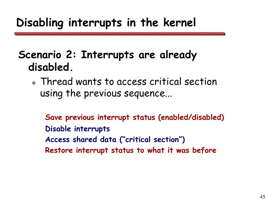 Disabling interrupts in the kernel