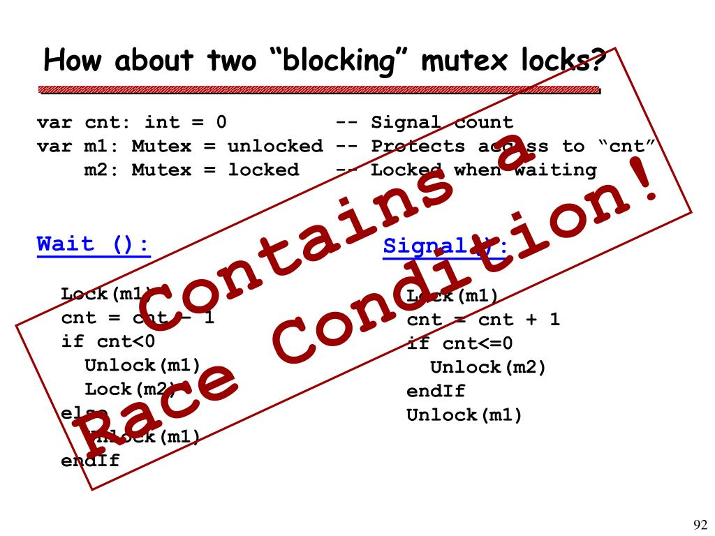 """How about two """"blocking"""" mutex locks?"""