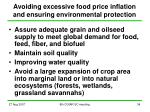 avoiding excessive food price inflation and ensuring environmental protection