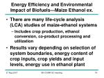 energy efficiency and environmental impact of biofuels maize ethanol ex
