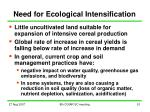 need for ecological intensification