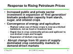 response to rising petroleum prices
