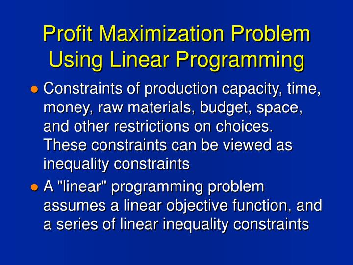 Profit maximization problem using linear programming