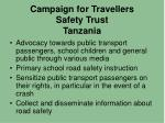 campaign for travellers safety trust tanzania