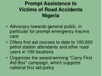 prompt assistance to victims of road accidents nigeria