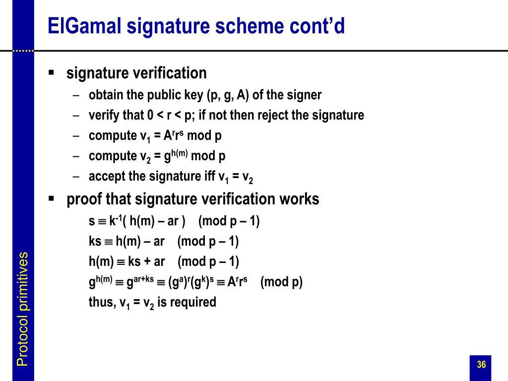 ElGamal signature scheme cont'd