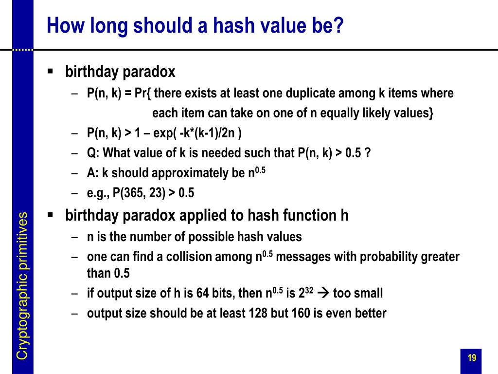 How long should a hash value be?