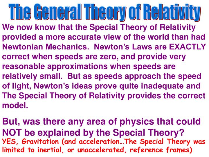 The General Theory of Relativity