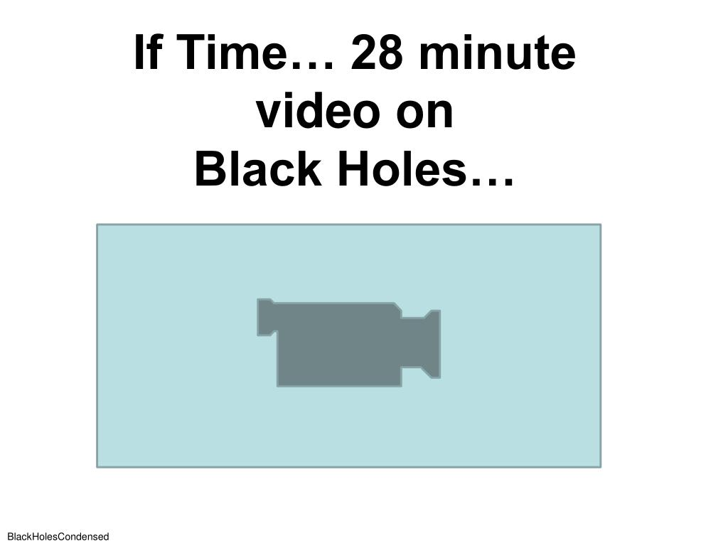 If Time… 28 minute video on                            Black Holes…