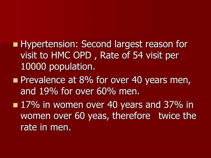 Hypertension: Second largest reason for visit to HMC OPD , Rate of 54 visit per 10000 population.