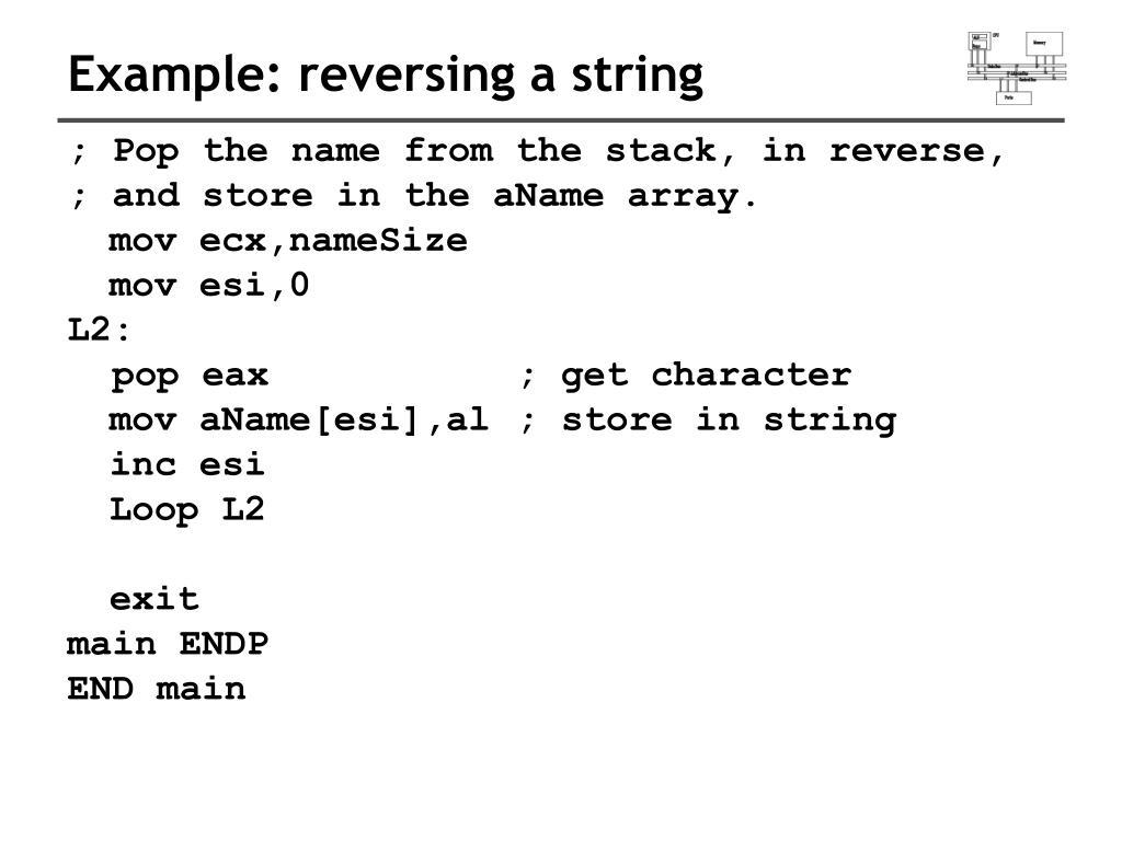 Example: reversing a string