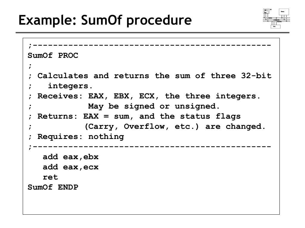 Example: SumOf procedure